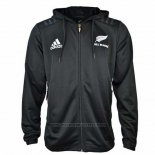 New Zealand All Blacks Rugby Hooded Jacket 2018-2019 Black01